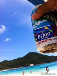 阿波連ビーチでビール 渡嘉敷島